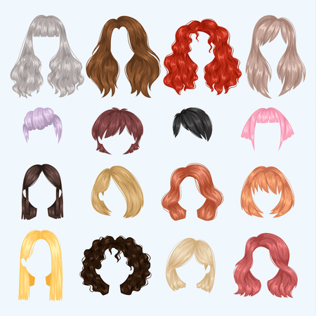 Female hairstyle illustration set