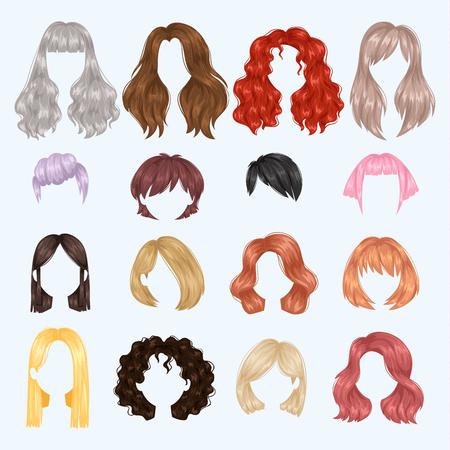 Zestaw ilustracji kobiece fryzury