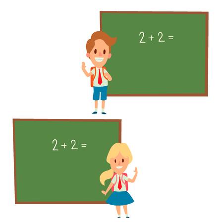 Children standing beside a blackboard vector.
