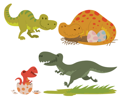 Dinosaurs vector illustration set.