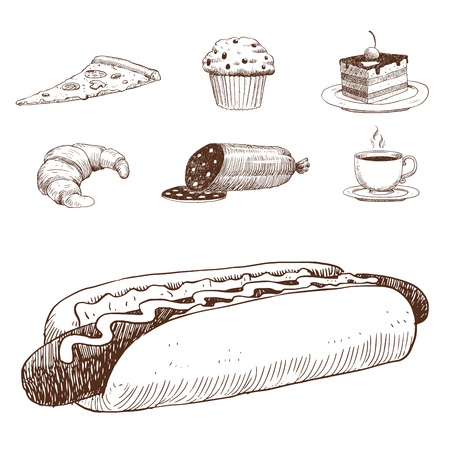 Food sketch vector illustration. Иллюстрация