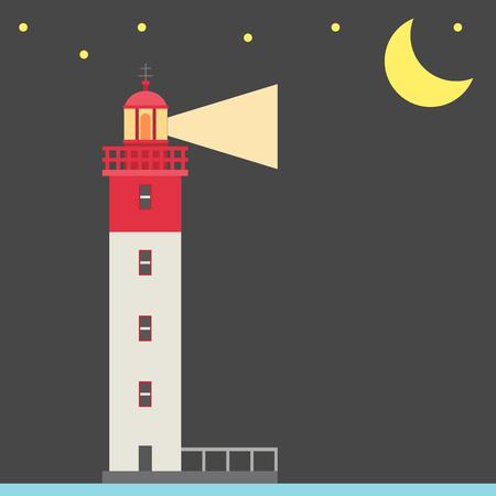Lighthouse night vector illustration.
