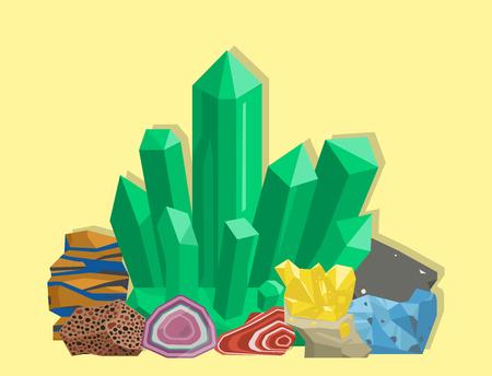 Semi precious gemstones vector illustration. Reklamní fotografie - 97228008