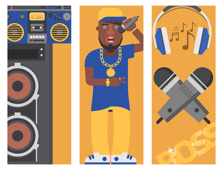 Hip-hop man accessory vector illustration.