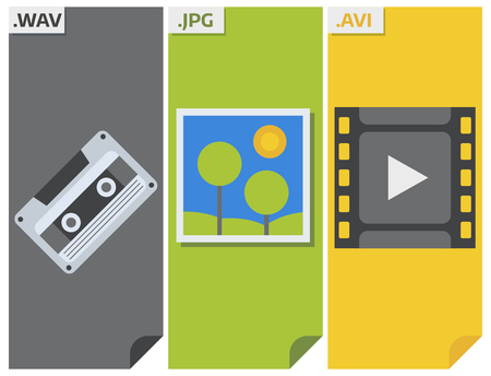 File types vector icons and formats labels