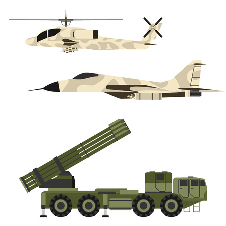 Military army transport illustration set.