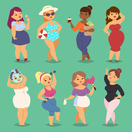 Fatty cartoon woman image illustration