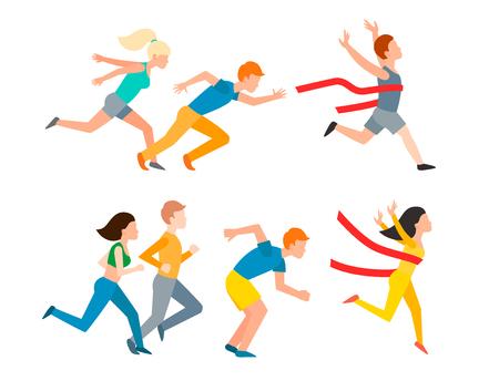 People jogging image illustration Stock Illustratie