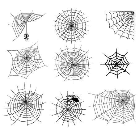 Spiders vector web silhouette set.