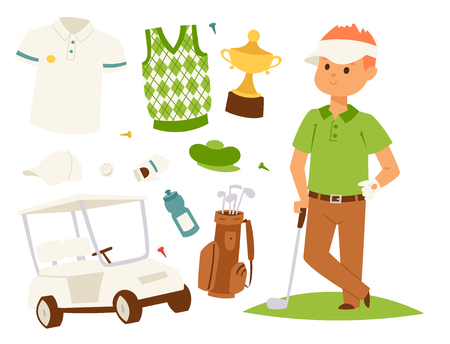 Golf player clothes and accessories Çizim