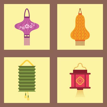 Chinese lantern set vector illustration.