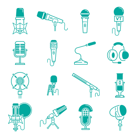 Microphone  musical icon set