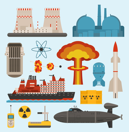 Nuclear atomic power and renewable energy icons