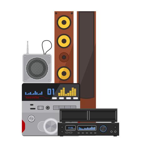 アコースティックサウンドシステムステレオフラットベクター音楽拡声器プレーヤーサブウーファー機器技術。  イラスト・ベクター素材