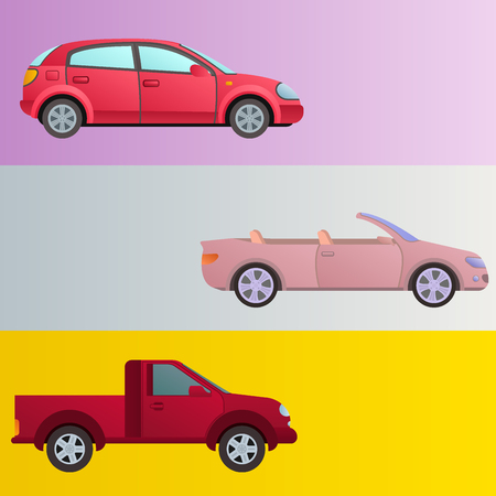 Car auto vehicle banner transport type design travel race model technology style and generic automobile contemporary kid toy flat vector illustration.