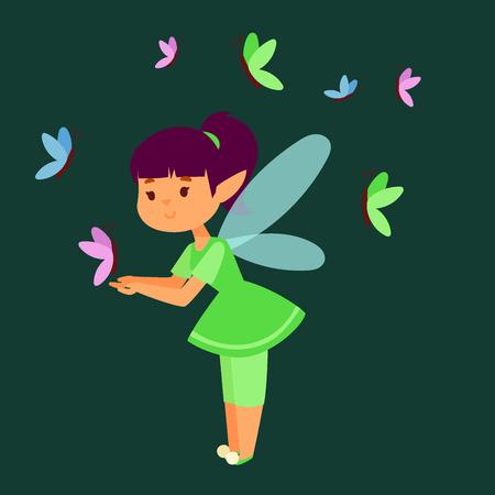 Fairy princess girl vector character cute beautiful style cartoon little fairyland fashion costume magic fantasy dress fairytale crown kid.