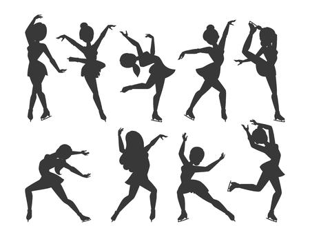 Figure ice skater vector cartoon trick figure women beauty sport girls doing exercise and tricks jumping ice skater characters dancer figure skates girls performance illustration Vettoriali