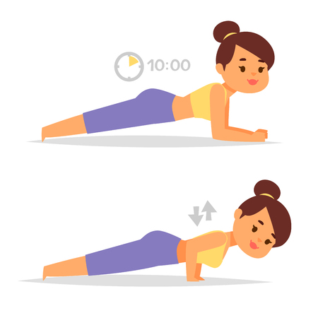 Woman home workout vector exercising at home fitness character training coaching healthy living and diet concept illustration. Illustration