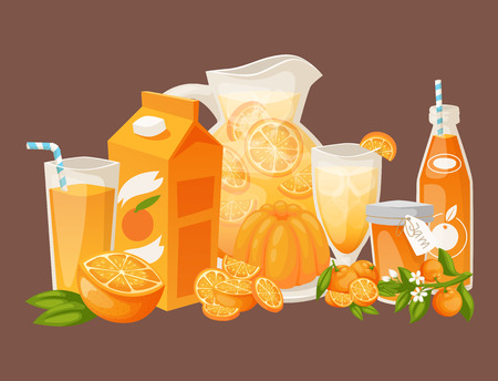 Oranges and orange products vector illustration natural citrus fruit vector juicy tropical dessert beauty organic juice healthy food. Illustration