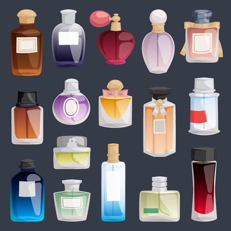 Vector perfume fashion container bottle pack template smell spray illustration perfume shop symbols elegant merchandise gift. Beauty liquid luxury fragrance aroma perfume bottle aromatherapy Stock Vector - 97362402