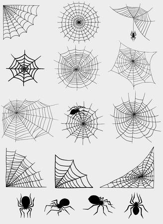 Spiders web net vector silhouette spooky nature halloween element cobweb decoration fear spooky net danger horror spider trap cobweb black silhouette decoration 일러스트