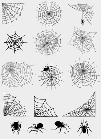 Spiders web net vector silhouette spooky nature halloween element cobweb decoration fear spooky net danger horror spider trap cobweb black silhouette decoration Ilustração