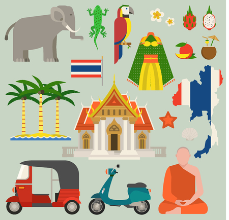 Travel thailand flat icons design vector illustration. Bangkok culture thailand travel world architecture. Asian holiday landscape Thai map thailand travel concept journey icons Illustration