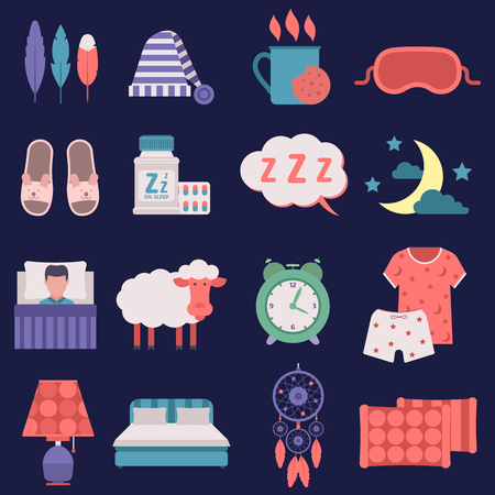 Sleep vector night time related vector icons set button human clock sleep icons hostel bedding relaxation. Bedroom art lifestyle healthy nap sleep icons nightlife dreamcatcher collection