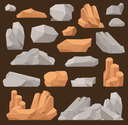 Stones and rocks in cartoon vector style big building mineral pile. Boulder natural rocks and stones granite rough. Vector illustration rocks stones nature mountains geology cartoon material