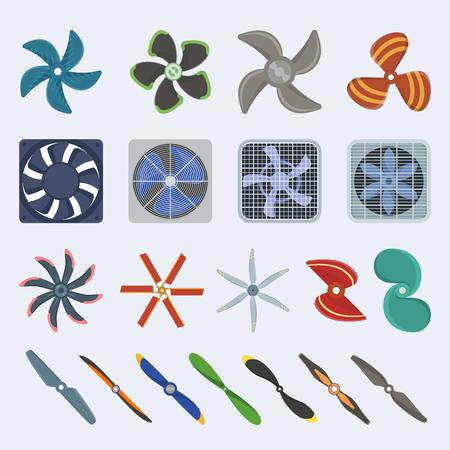 Propellers fan vector icons isolated object boat and plane equipment propeller fan icons cool ventilation ship symbol retro cooler boat equipment. Ventilator symbol wind equipment propeller fan icons