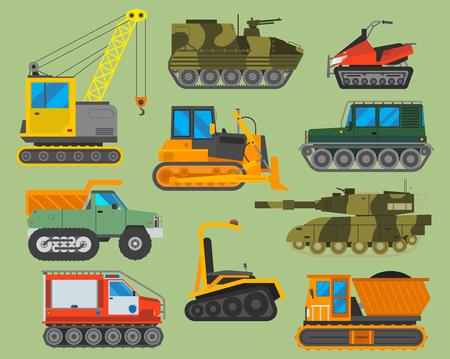 Tracked caterpillar excavator tractor vector illustration isolated on background. Construction industry machinery caterpillar equipment tractor. Bulldozer vehicle transportation caterpillar equipment