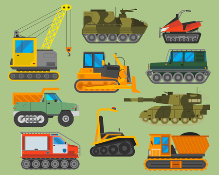 Tracked caterpillar excavator tractor vector illustration isolated on background. Construction industry machinery caterpillar equipment tractor. Bulldozer vehicle transportation caterpillar equipment