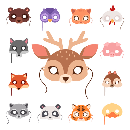 Animals carnival mask vector festival decoration masquerade and party costume cute cartoon head decor celebration illustration. Stock Vector - 97612366