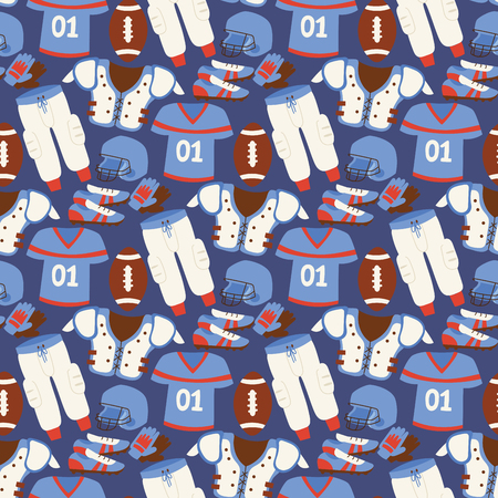 American football player action sport athlete uniform sporty accessory success playing tools seamless pattern background vector illustration