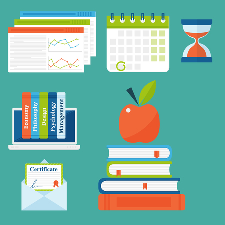 Online education vector staff training book store distant educationary icons learning knowledge illustration