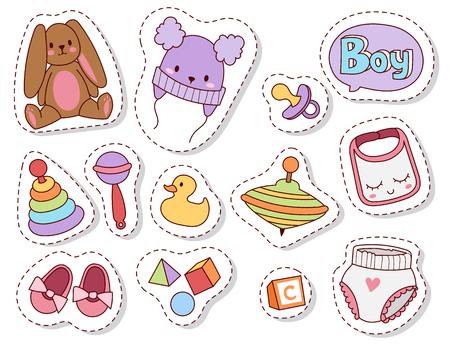 Bebé juguetes parches dibujos animados familia niño juguetería diseño lindo niño y niña infancia arte pañal dibujo gráfico amor sonajero diversión vector ilustración.