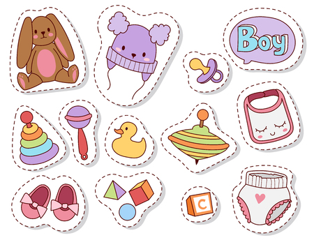 Baby toys patches cartoon family kid toyshop design cute boy and girl childhood art diaper drawing graphic love rattle fun vector illustration.