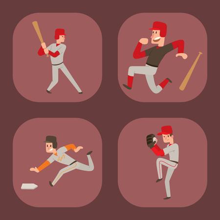 Baseball team player character illustration. Illustration