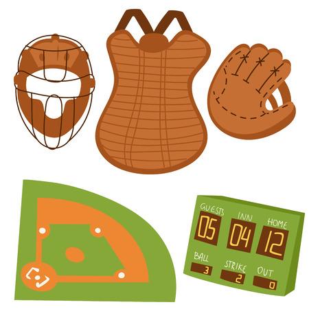 Baseball sport icons set vector illustration