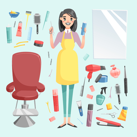 Vector girl hairdresser with hair clipper and hair brush portrait in full growth isolated on background. Professional stylish barber girl hair cutting tools. client mirror glamour barber girl Illustration