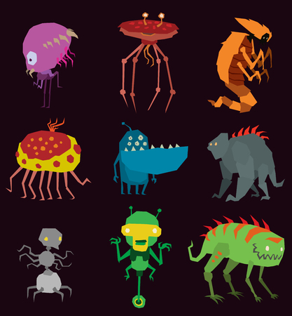 Vector aliens monsters set graphic mutant collection of colorful toy cute aliens monsters creature funny illustration tooth animal Halloween aliens monsters happy ugly set bacterium, virus predator Foto de archivo - 97612593