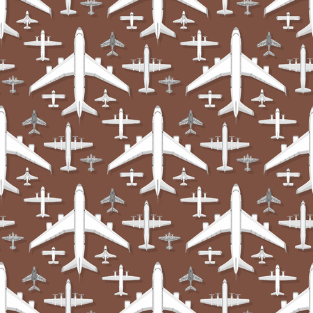 Airplane seamless pattern background vector illustration top view plane and aircraft transportation travel way design journey object. Çizim