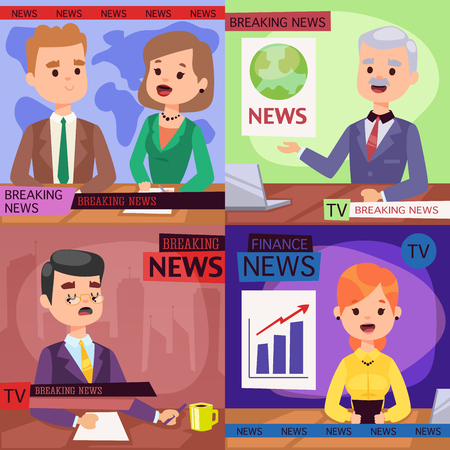 Vector Illustration anchorman breaking news and tv screen layout professional interview people in TV studio newsreader breaking news anchor. Communication broadcast newscaster anchor journalist.