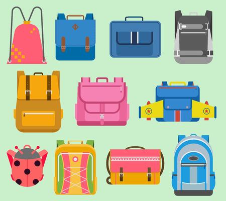 Flat school vector backpack kids boys and girls backpack school rucksack set illustration isolated. School supplies educational full schoolbag supply plane, ladybug. Stock Illustratie