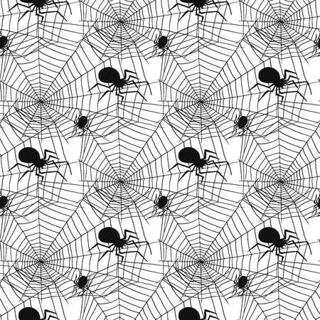 Vector spider web silhouette spooky spiders seamless pattern background halloween cobweb decoration fear spooky net.
