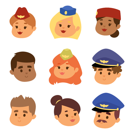 Pilots and stewardess vector head illustration. Banque d'images - 97797966