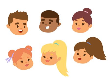 Children vector face portrait