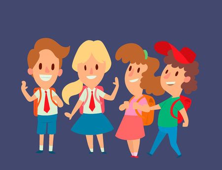 Group of kids in cartoon character Illustration.