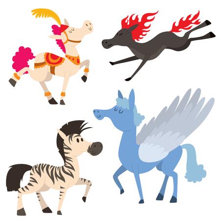 Set of horse in cartoon Illustration.