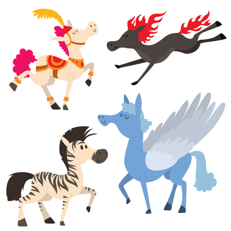 Set of horse in cartoon Illustration.